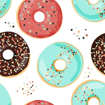 Seamless colorful donut pattern