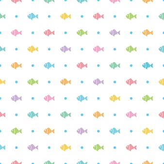 Seamless colorful fish and polka dots pattern on white background
