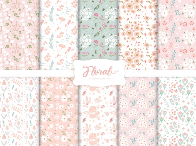 Seamless colorful floral patterns collection