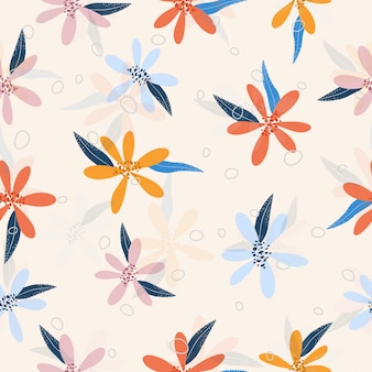 Seamless colorful flowers seamless pattern