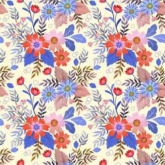 ファッションプリント、包装、繊維、紙、壁紙のシームレスな色とりどりの花のベクトル。