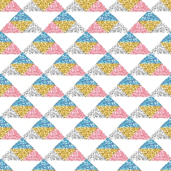 Seamless colorful glitter triangle pattern background