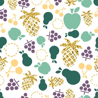 Seamless colorful and gold glitter mix fruit pattern on white background