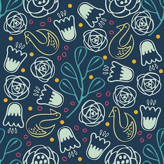 Seamless colorful hand drawn flower and bird pattern background