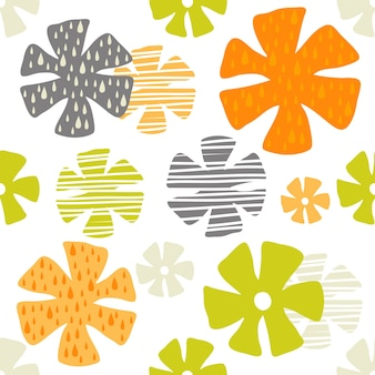 Seamless colorful hand drawn flower pattern on white background