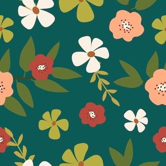 シームレスなカラフルな手描きの花背景