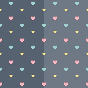 Бесшовные красочные сердца синий узор. векторная иллюстрация