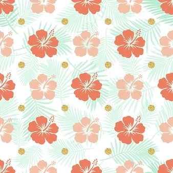 Seamless colorful hibicus with palm leaf pattern background