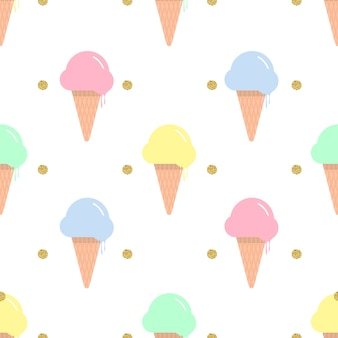 Seamless colorful ice cream in a waffle cone with gold dot glitter on white background