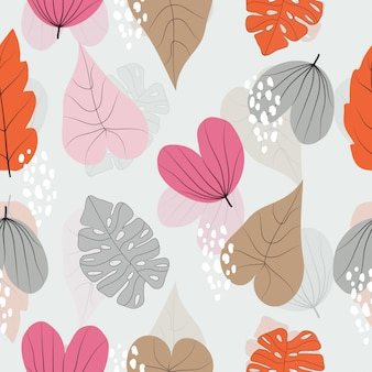 Seamless colorful leaves pattern