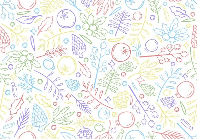 Seamless colorful line hand drawing christmas background christmas time illustration greeting cards template with flowers and petals in white background