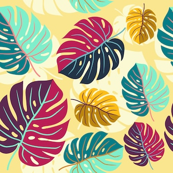 Seamless colorful monstera leaves pattern