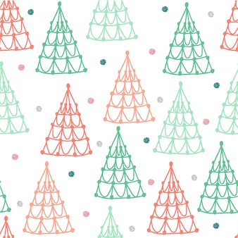 Seamless colorful pastel christmas pattern background with pine tree and glitter star