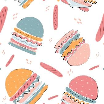 ハンバーガーチーズトマトソース野菜とパンとシームレスなカラフルなパターンのハンバーガー