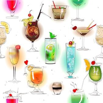 古典的なアルコールカクテルとのシームレスなカラフルなパターン