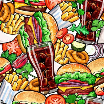 Seamless colorful pattern with fast food