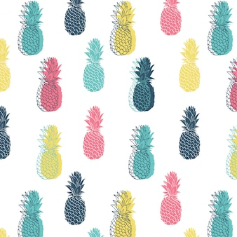 Seamless colorful pineapple pattern.