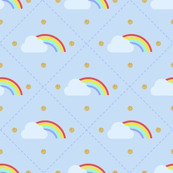 원활한 화려한 무지개와 파란색 배경에 골드 도트 반짝이 패턴으로 구름