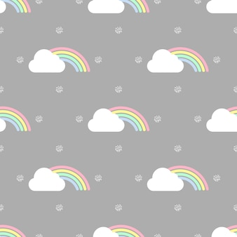 Seamless colorful rainbow and cloud with gold dot glitter pattern on grey background