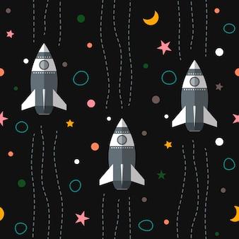 惑星、ロケット、星とシームレスなカラフルな宇宙パターンの背景