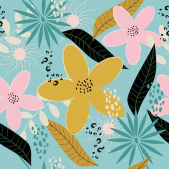 Seamless colorful spring floral pattern