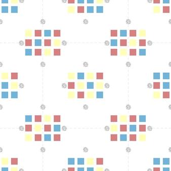 Бесшовные красочные квадрат с серебряной точки блеск шаблон на белом фоне