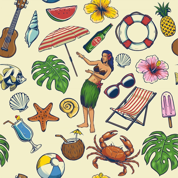 Seamless colorful summer pattern