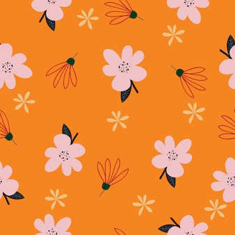 Seamless colorful tropical floral pattern background