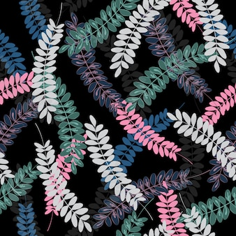 Seamless colorful tropical leaves pattern
