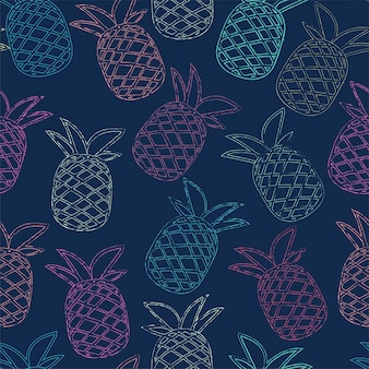 Seamless colorful tropical pineapple pattern for summer.