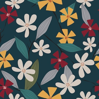 Seamless colorful tropical spring floral seamless pattern