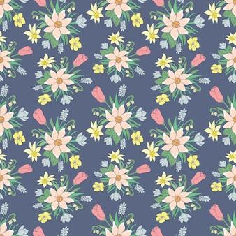 春の花とのシームレスなカラフルなベクトルパターン。花柄。