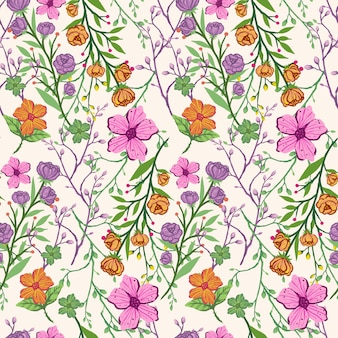 Seamless colorful vintage hand draw flowers pattern