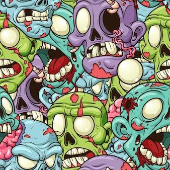Бесшовный красочный кричащий образец зомби