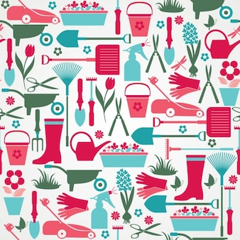 Seamless colourful gardening tools pattern