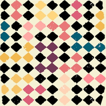 Seamless colourful vintage grunge square geometric pattern. Vintage style backdrop