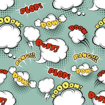 シームレスな漫画の背景のバブルバング、面白いシンボル、表現と爆発。ベクトルイラスト