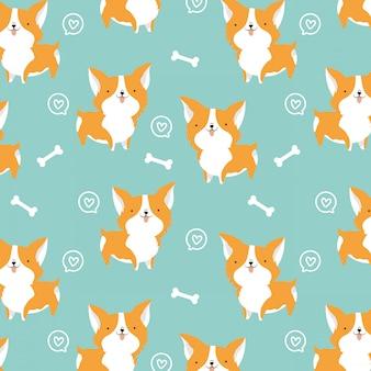 Seamless corgi dog pattern
