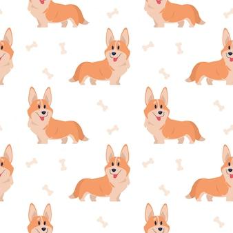 원활한 corgi 패턴입니다. 인쇄, 포스터 및 엽서 귀여운 강아지 세트 만화 집 애완 동물. 코기 동물 배경입니다. 재미 있은 작은 강아지 원활한 패턴