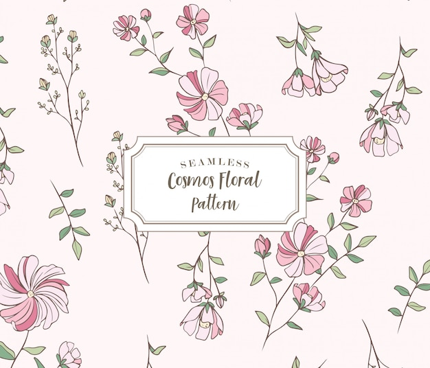 Seamless cosmos floral pattern