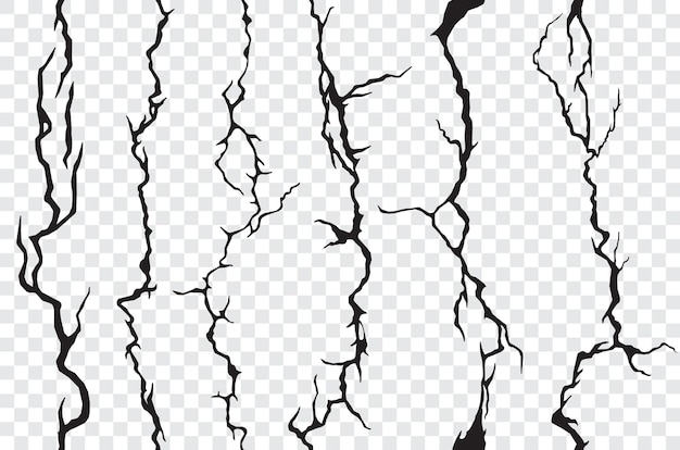 Seamless cracks in the wall, plaster or ground, transparent background. vector cracked or broken texture of stone, soil, marble or cement, grunge pattern with cracks, clefts, fissures and cracklets