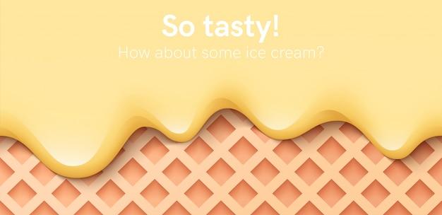 シームレスなクリーミーな液体、ヨーグルトクリーム、アイスクリーム、またはミルクが溶けてワッフルの上を流れます。黄色のバナナがしずく。シンプルな漫画デザイン。バナーやポスターの背景。リアルなイラスト