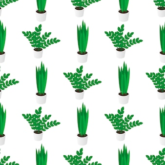 Seamless creative pattern of potted home plants