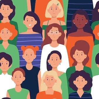 Бесшовные толпа женщин шаблон.