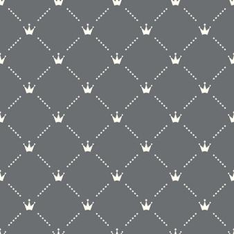 어두운 배경에 원활한 왕관 패턴입니다. 왕관 아이콘 크리에이 티브 디자인입니다. 벽지, 웹 페이지 배경, 섬유, 인쇄 ui/ux에 사용할 수 있습니다.