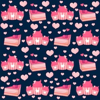 ピンクとブルーの色で飾られたシームレスなカップケーキ、ペストリー、ハートのパターン。