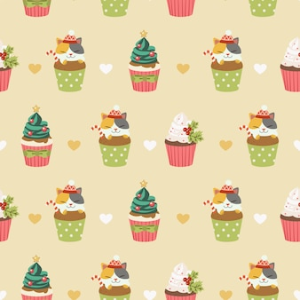 Seamless of cupcakes and cute cats with hearts