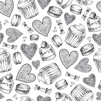 シームレスなカップケーキ、お菓子、マカロン、ハートの手描きパターン。黒と白のビンテージ落書き背景