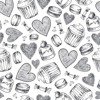 Seamless cupcakes, sweets, macaroons, hearts hand drawn pattern. black and white vintage doodle background
