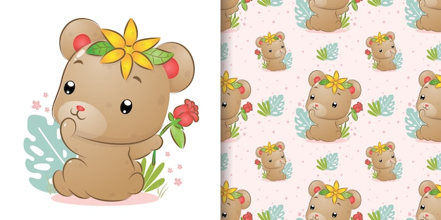 The seamless of the cute bear look at back and holding the red rose on her hand of illustration